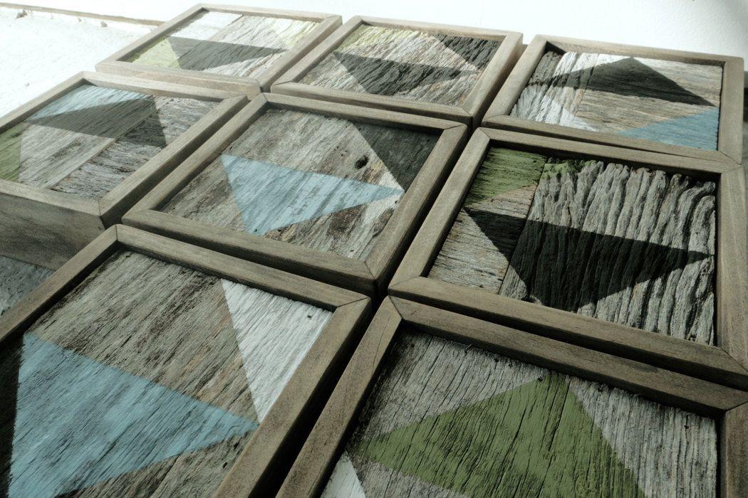 Geometric barnwood art blocks set of 9 barn wood art