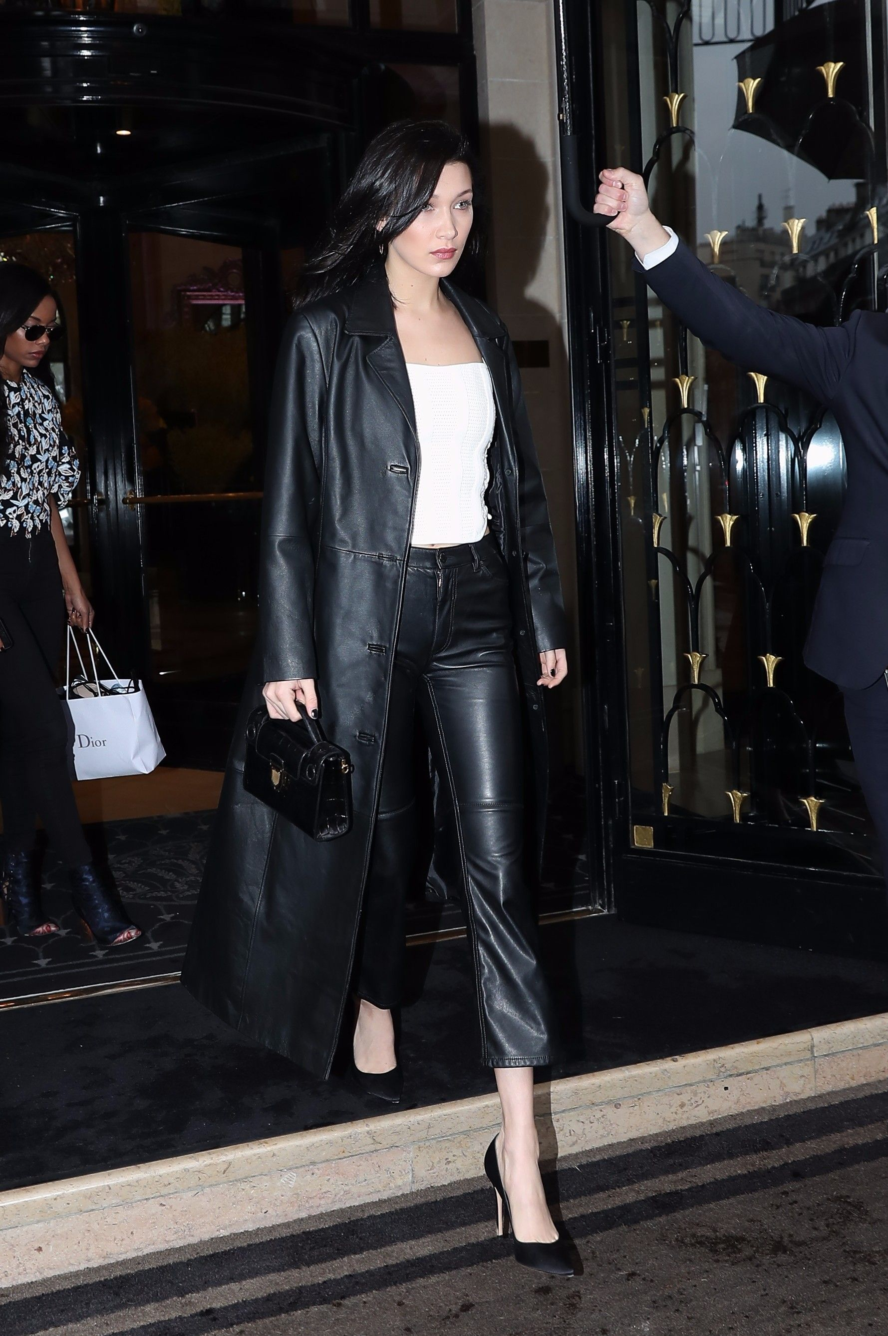Bella Hadid Leaving Her Hotel Casual Style Outfits Long Leather Coat Black Leather Pants [ jpg ]