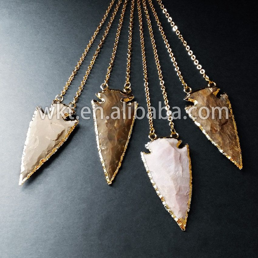 WT-N154 Gold trimmed agate arrowhead necklace, Indian agate stone necklace by…