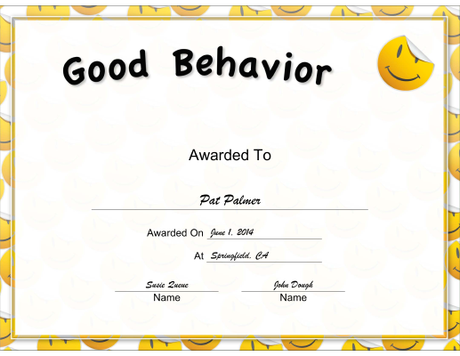 This Yellow Good Behavior Certificate Rewards Good Behavior With A