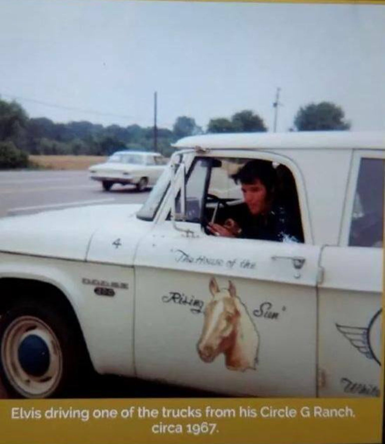 Elvis driving Circle G Ranch truck 1967 Notice he has a picture