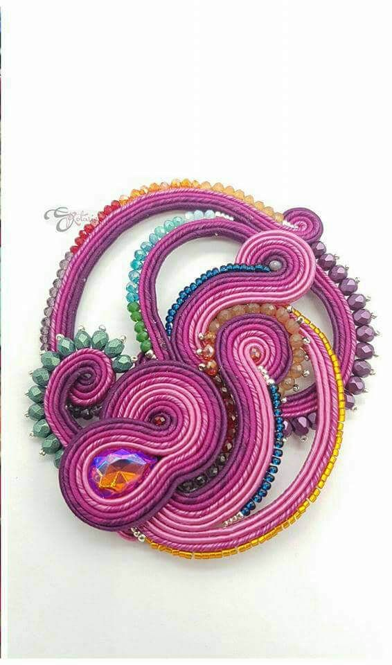 handmade soutache pin Could also be used as pendant Boemian crystal and miyuki beads