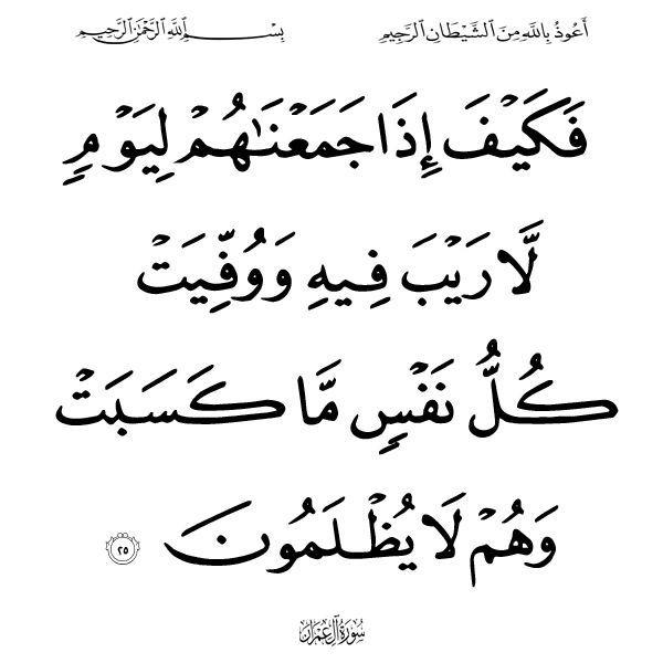 ٢٥ آل عمران Arabic Calligraphy Quran Photo
