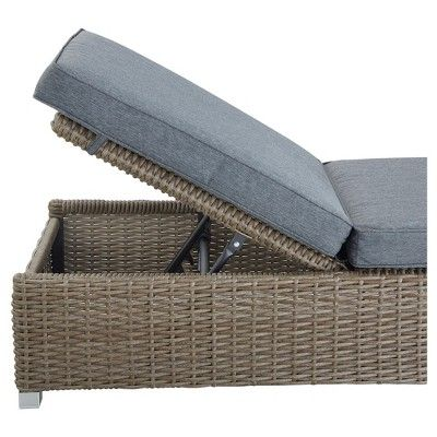 Riviera Pointe Wicker Patio Chaise Lounge with Cushion - Inspire Q, Grey, Durable