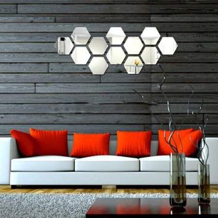 online self adhesive mirror tile, estink 3d 12pcs decorative
