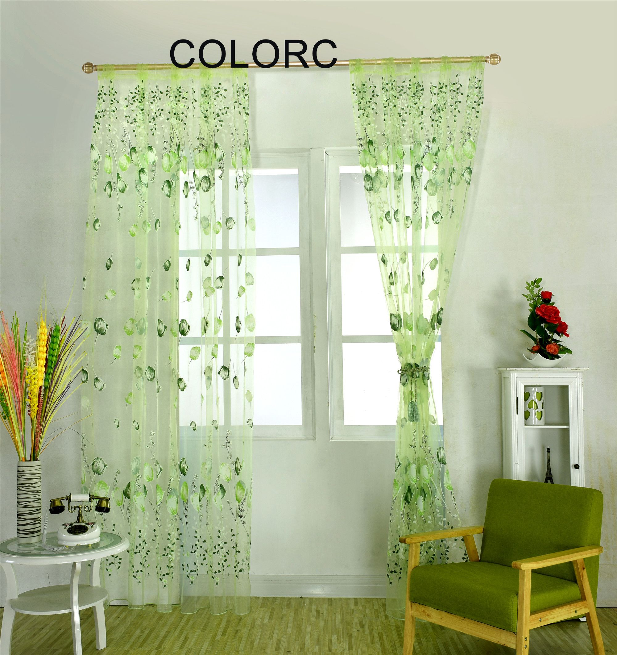 Wemay 2017 Hot Sale Flower Curtains Floral Tulle Curtains Decoration Curtains Do… Balkon
