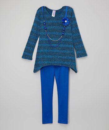 Teal & Royal Stripe Flower Tunic Set - Girls