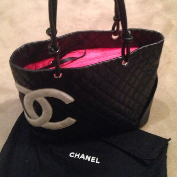 94c32b6a27184 AUTHENTIC Chanel Cambon Large Tote Black and Pink Chanel Cambon Black  Calfskin White Leather CC s Pink Lining Tote Handbag LARGE
