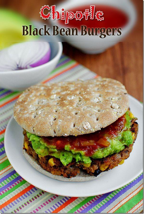 Chipotle Black Bean Burgers. A smoky, delicious vegetarian burger. #dinner #vegetarian