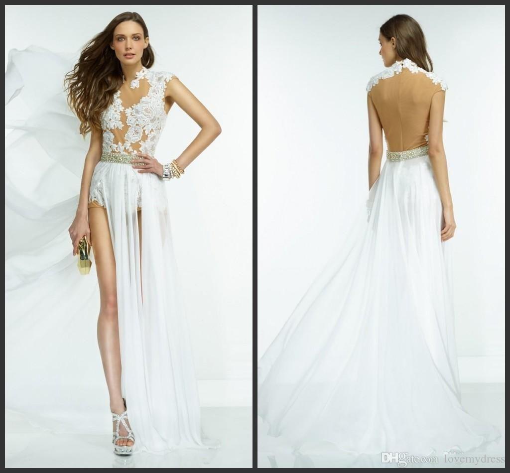 Iullsion Back High Neck Dress For Wedding Sleeveless Appliques Split Sexy Design…
