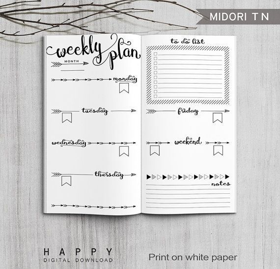 Printable Bullet Journal Weekly inserts, Midori Weekly Planner, Printable Midori Traveler's Notebook weekly planner inserts, PDF file