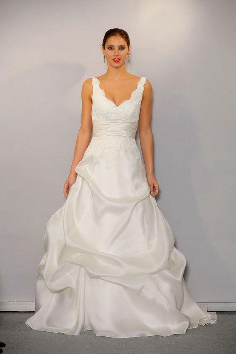Modern v-neck empire waist organza wedding dress. First dress with ...