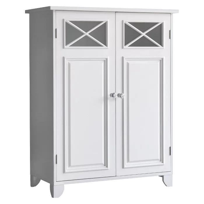 Dawson Floor Cabinet With 2 Doors White Elegant Home Fashions In 2020 Elegant Home Fashions Elegant Homes Storing Towels