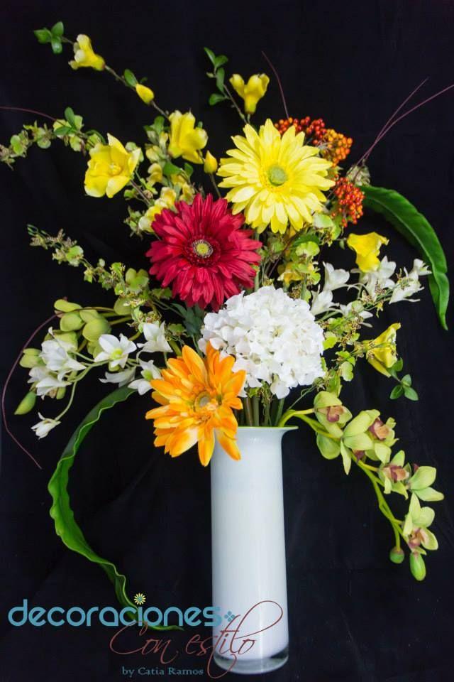 Arreglo con flores artificiales flores naturales y - Arreglos florales artificiales centros de mesa ...