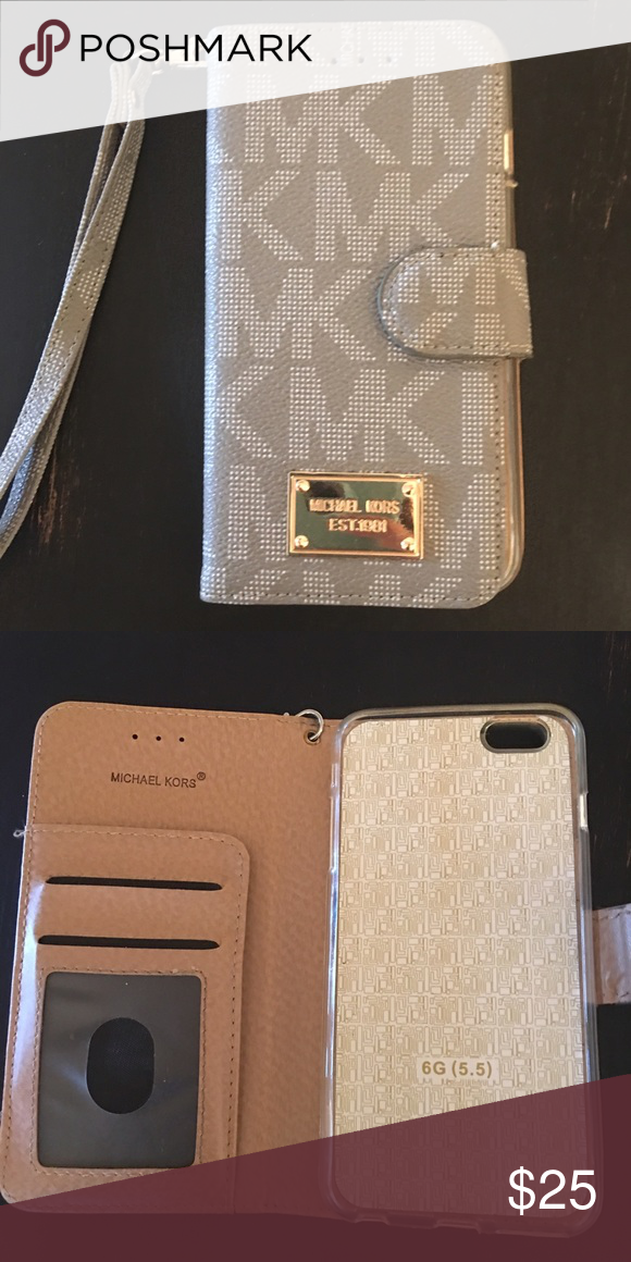 add85d0139de Michael kors iPhone 6 Plus Mk wallet case! Grey in color and for iPhone 6  Plus or 6s plus! Very gently used! Michael Kors Accessories Phone Cases