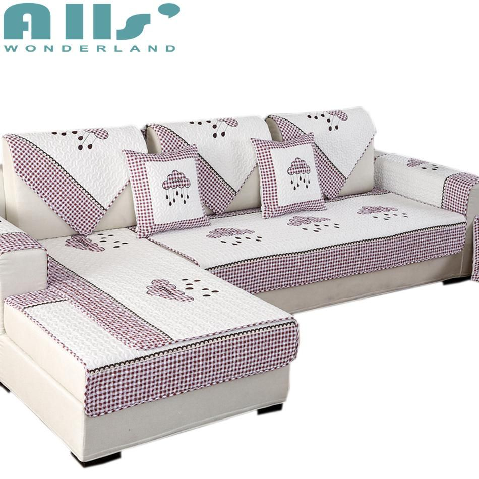 Red And White 1pc Sectional Sofa Cover 100 Cotton Plaid Furniture Protector Embroidered Cloud Pattern