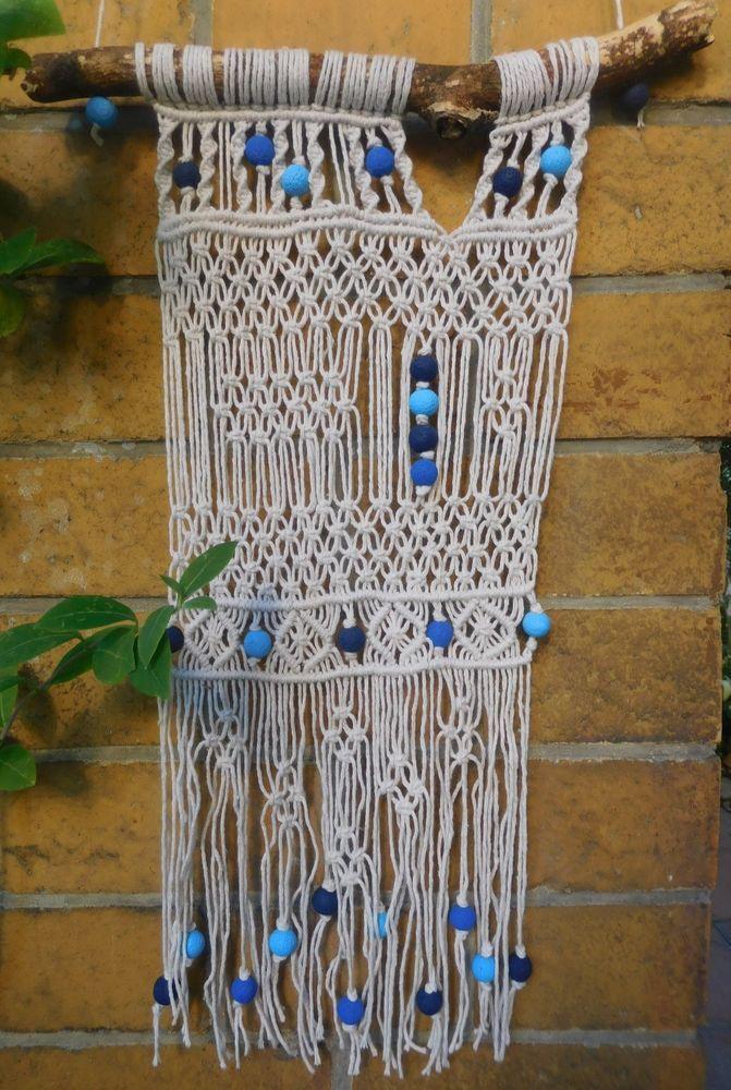 Makramee wandbehang sommerlich mit blauen perlen boho wand dekoration makramee wall hanging - Makramee wandbehang ...