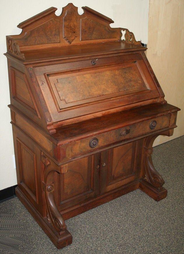 Antique Victorian Eastlake Slant Front Drop Front Desk Walnut  #VictorianEastlake $549.00 EBay Local Calif pickup - Antique Victorian Eastlake Slant Front Drop Front Desk Walnut