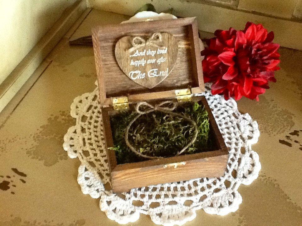 Wedding Ring Box, Rustic, Shabby Chic, Personalized. $24.99, via Etsy.