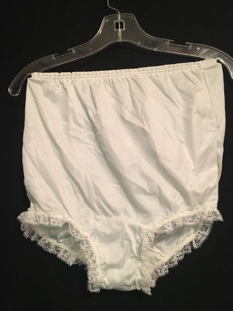 74e36749eab6 Vintage Double Nylon Panty Granny Panties lace trim White Size Large | eBay