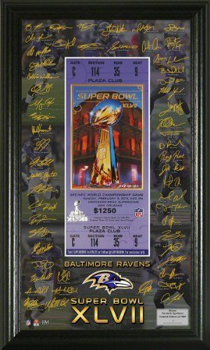 """Baltimore Ravens AFC Champions Super Bowl XLVII Signature Ticket by Highland Mint. $49.95. Limited Edition of 1000! Featured in a 13""""x16"""" black wood frame and triple matting is a numbered 8""""x10"""" custom action photo of Dirk Nowitzki displayed with two 39mm minted Coins; a 24KT Gold flashed Dallas Mavericks Commemorative Coin and a 24KT Gold flashed NBA coin. An individually numbered Certificate of Authenticity is matted between both Gold Coins. Officially License..."""