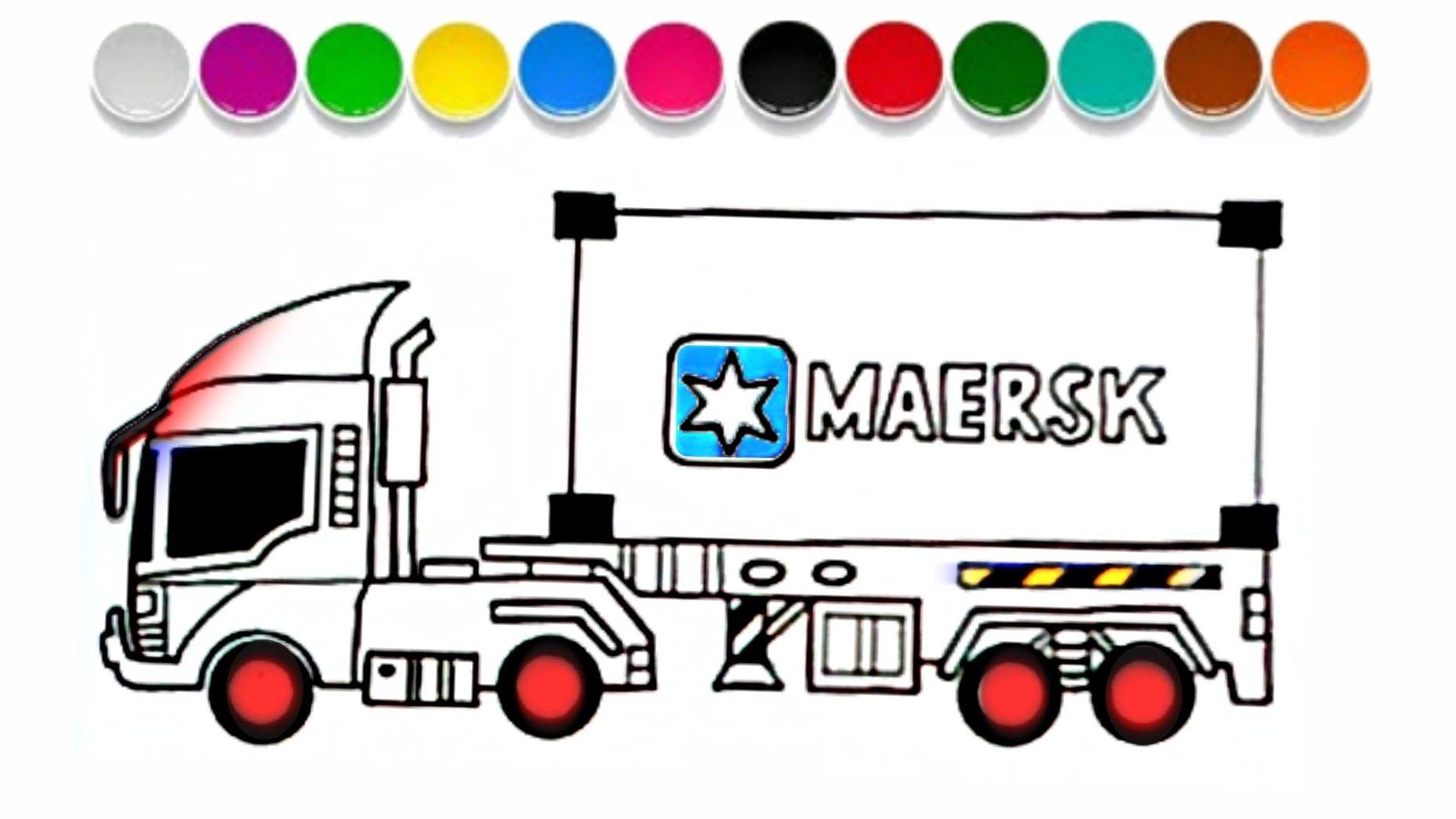 Menggambar Mobil Truk Kontainer Maersk Truk Mobil Mainan