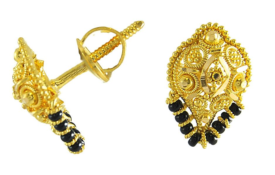 Gold Earrings for Women | 22Kt Gold Tops - ErGt2888 - 22Kt Gold ...