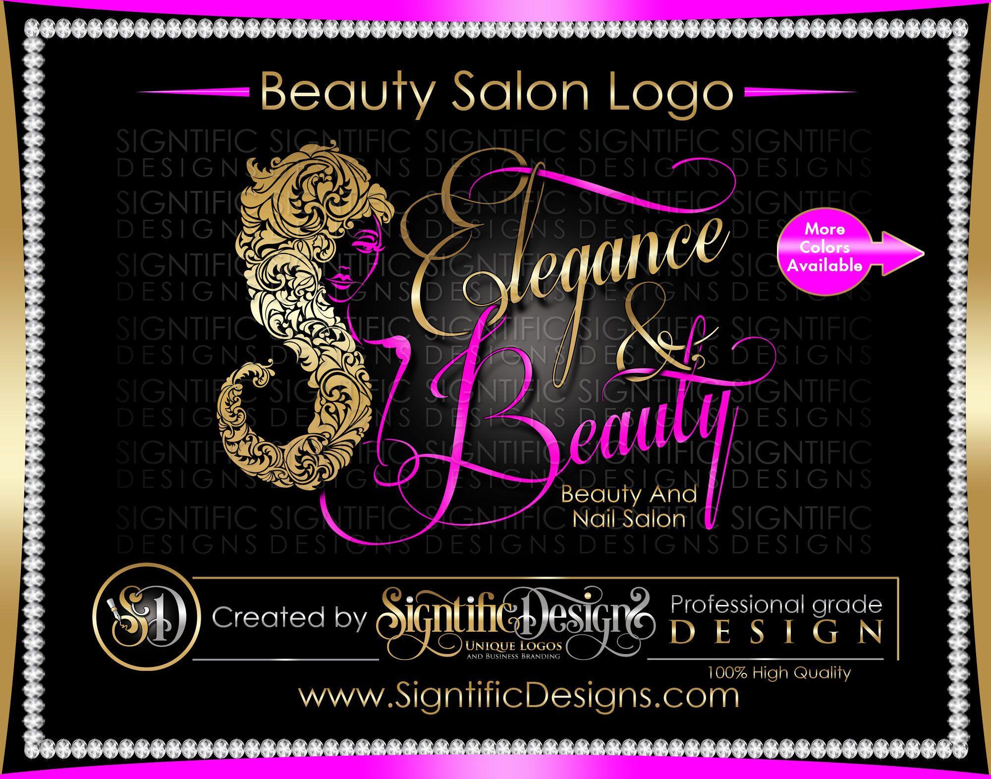 Beauty and Nail Salon Logo, Custom Business Logo, Silver