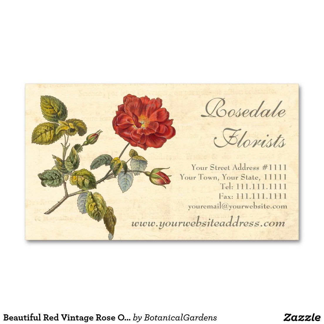 Beautiful Red Vintage Rose Old Fashioned Business Card | Business ...