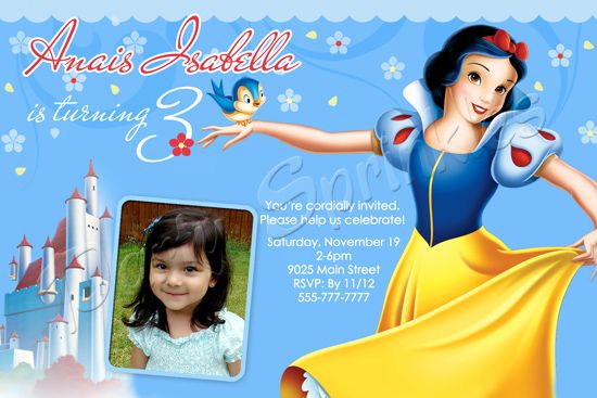 S1 Snow White Invitation By Party Sprinkles Kids Character
