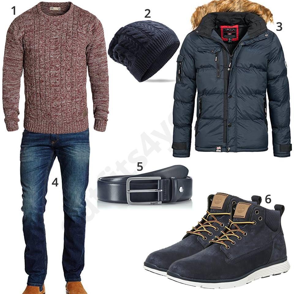 winteroutfit mit steppjacke pullover und strickm tze. Black Bedroom Furniture Sets. Home Design Ideas