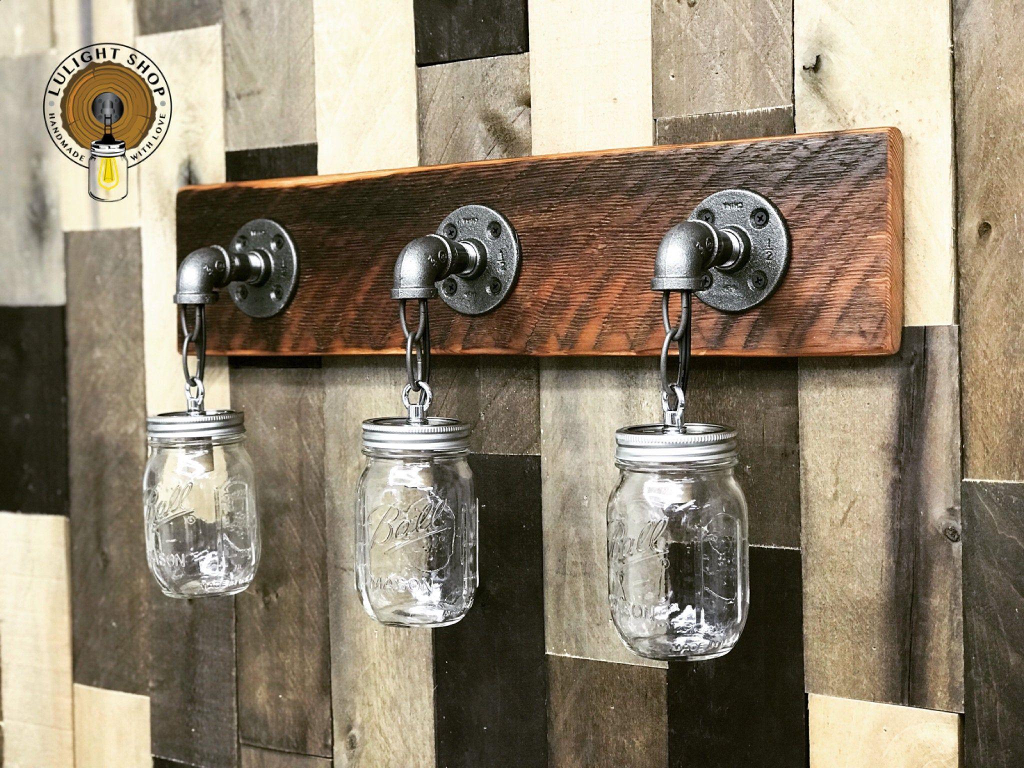 Photo of RECLAIMED WOOD Mason Jar Light Fixture, Bathroom Lights, 3 Lights Fixture, Vanity Lights, Wal…