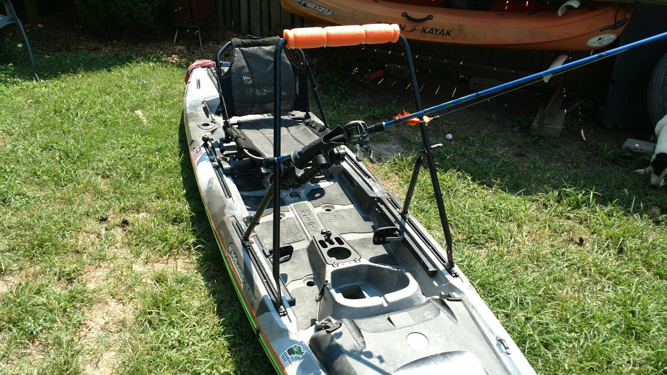 My Diy Kayak Stand Up Bar Made From A Lawnmower Handle Kayak Stand Diy Kayak Projects Kayaking