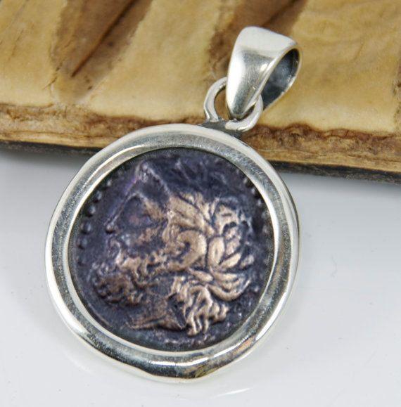 c5f52c1b46eda3 Ancient Coin Pendant - Zeus - 925 Sterling Silver Pendant - Simple Design