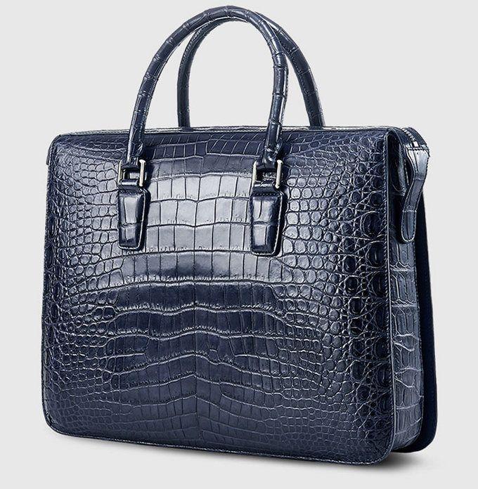 Blue Luxury Alligator Business Briefcase Alligator Laptop Bag for Men-Side 9690de632f94c