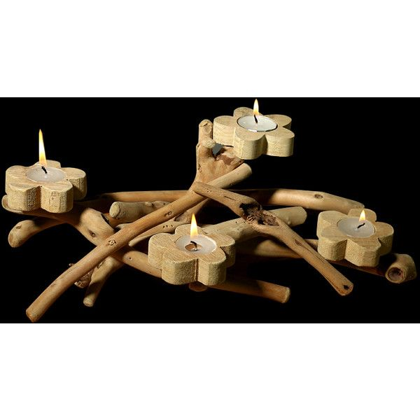 Four Flower Handmade Candle Holder Decoration ($36) ❤ liked on Polyvore featuring home, home decor, candles & candleholders, hand made candles, flower candle holder, handmade candle holders, mini candles and flower stems
