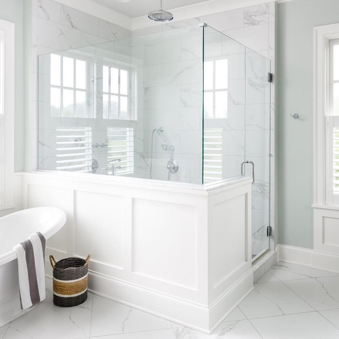 J A S O N B L A C K On Instagram Usually I M Not A Fan Of The Half Wall But We Decided To Trim Master Bathroom Shower Bathroom Remodel Master Shower Remodel Bathroom ideas half wall
