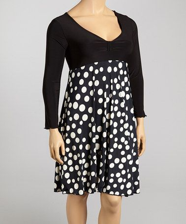 Another great find on #zulily! Black Polka Dot Empire-Waist Dress - Plus #zulilyfinds