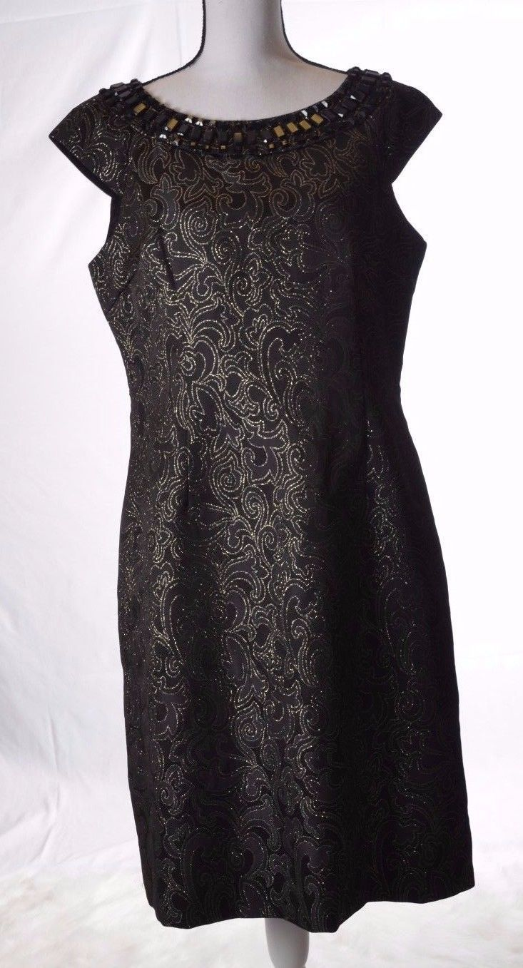 Awesome amazing spense womens black gold thread beaded neck party