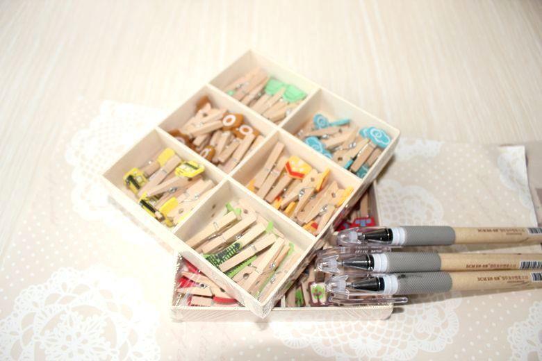 Barato De volta À Escola! Mini Clip De Madeira Box Set 48 Pçs/set Bookmark…