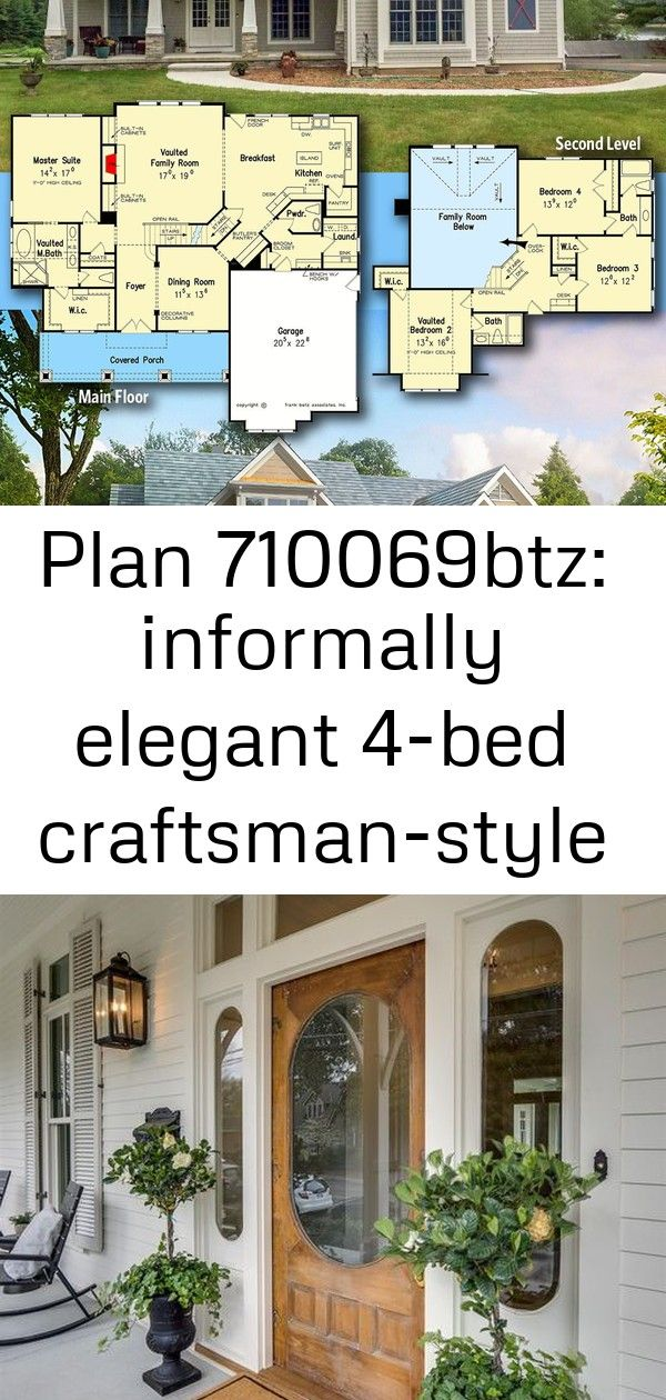 Plan 710069btz informally elegant 4bed craftsmanstyle house plan 1 Architectural Designs Craftsman House Plan 710069BTZ gives you 4 bedrooms 35 baths and 2600 sq ft Ready...