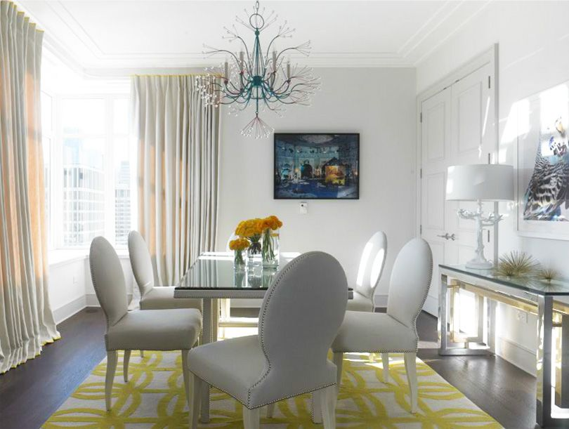Notice The Yellow Trim On Curtains That Sea Life Chandelier Best Grey And Yellow Dining Room Design Ideas