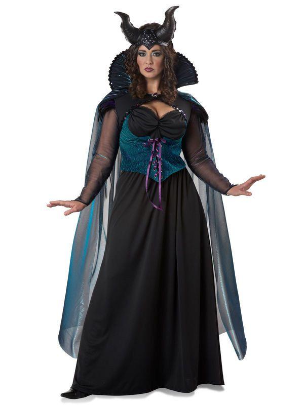 Dunkle Fee Halloween Damenkostüm Übergrösse schwarz-blau-weiss - Artikelnummer: 812760000 - ab 79.90 EURO - bei www.racheshop.de!