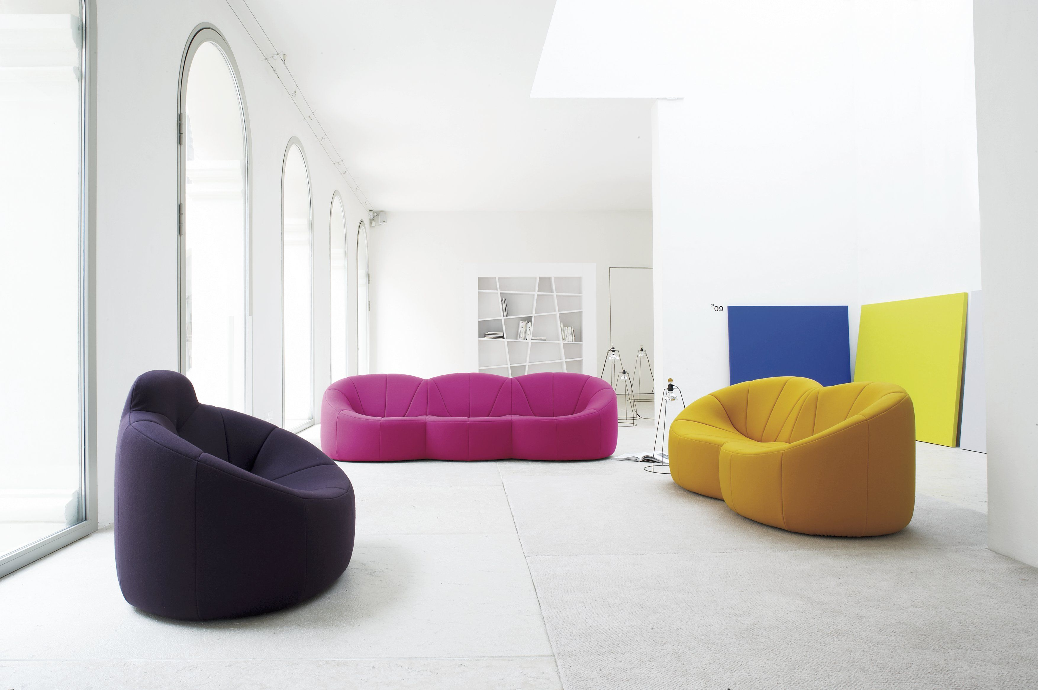 Pumpkin Armchair Loveseat And Sofa In Colors That Bold Colors That Contrast And Complement The 1960s Interior Design 1960s Interior Contemporary Living Room