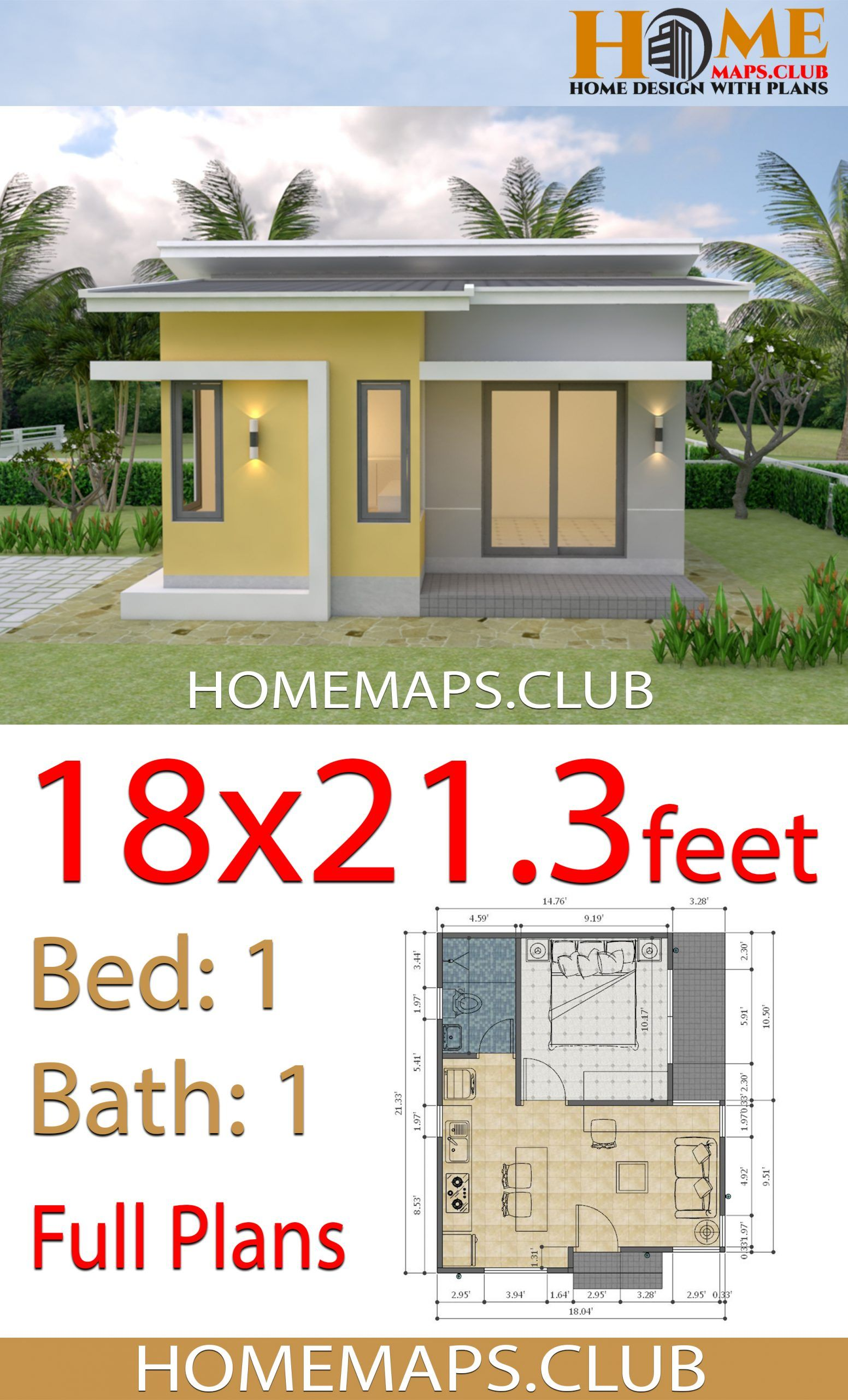 House Plans 18x21 3 Feet With One Bedroom Shed Roof Small House Plans One Bedroom House Plans Small House Design Plans