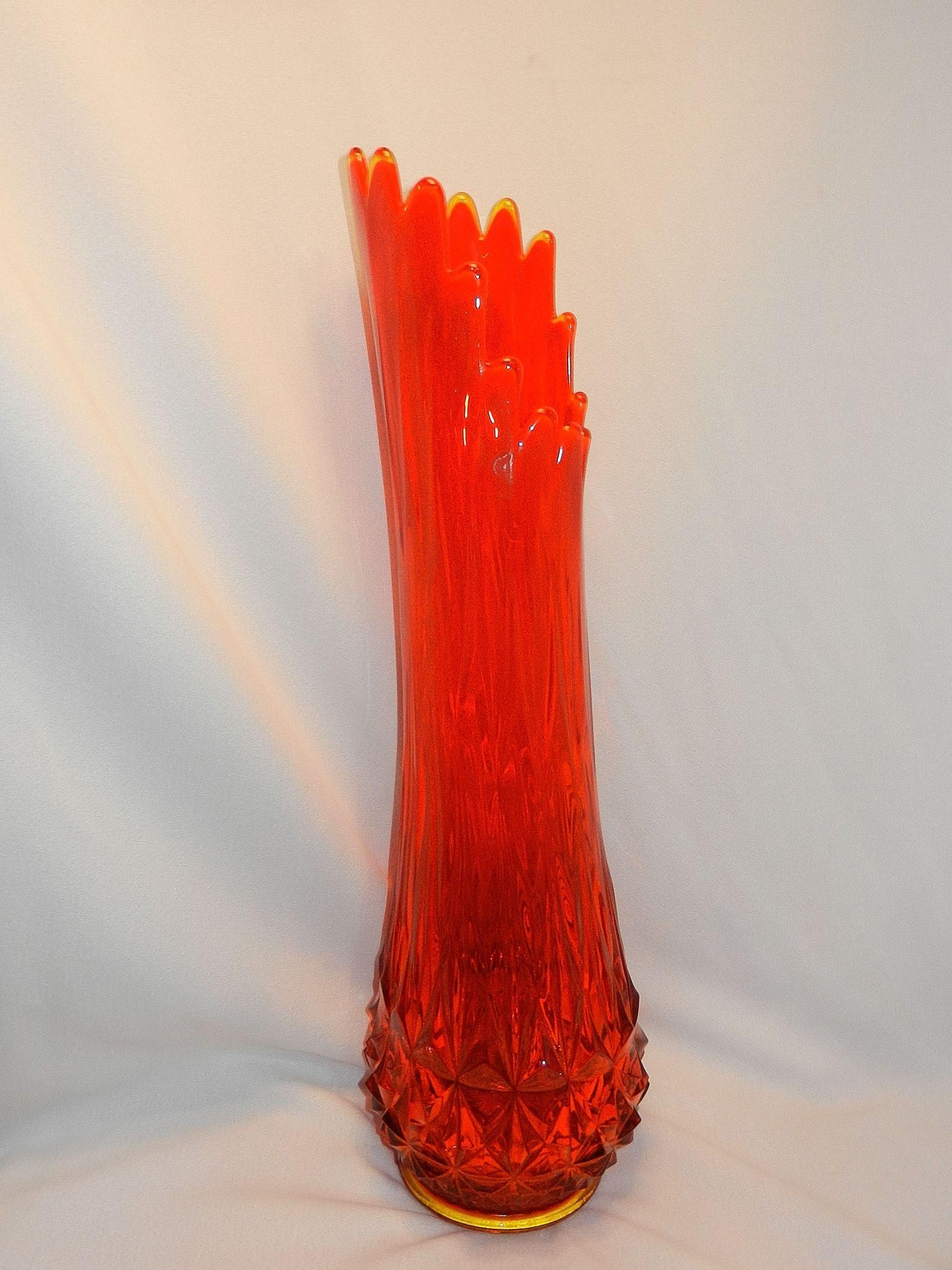 Vintage Viking Glass Fayette Pattern Persimmon Orange Large Swung