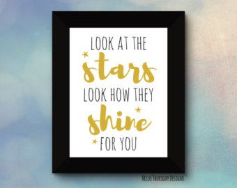 Look at the Stars Look how they Shine for You // Typography Print // Nursery Quote // Coldplay Lyrics // 8x10