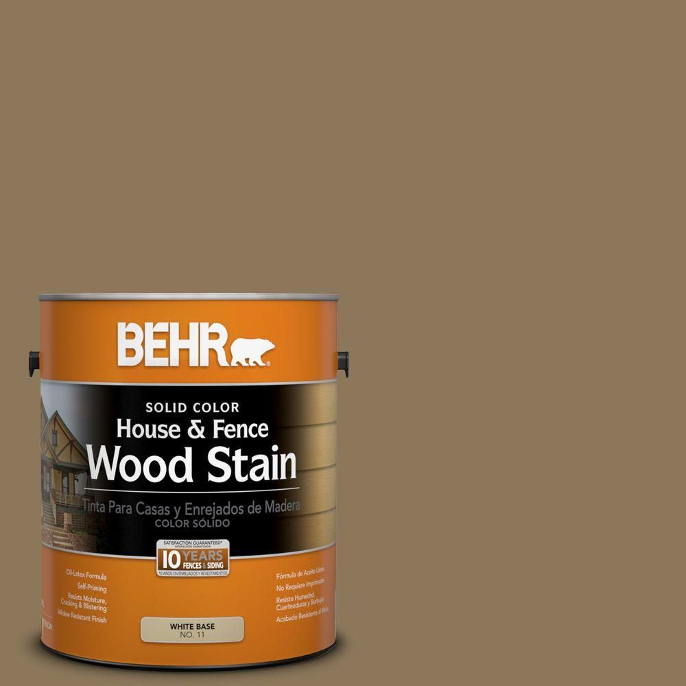 Taupe Exterior House Color Ideas: BEHR 1 Gal. #SC-153 Taupe Solid Color House And Fence
