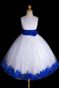 Hollie Ivory Or White Flower Girl Dress With Royal Blue Petals