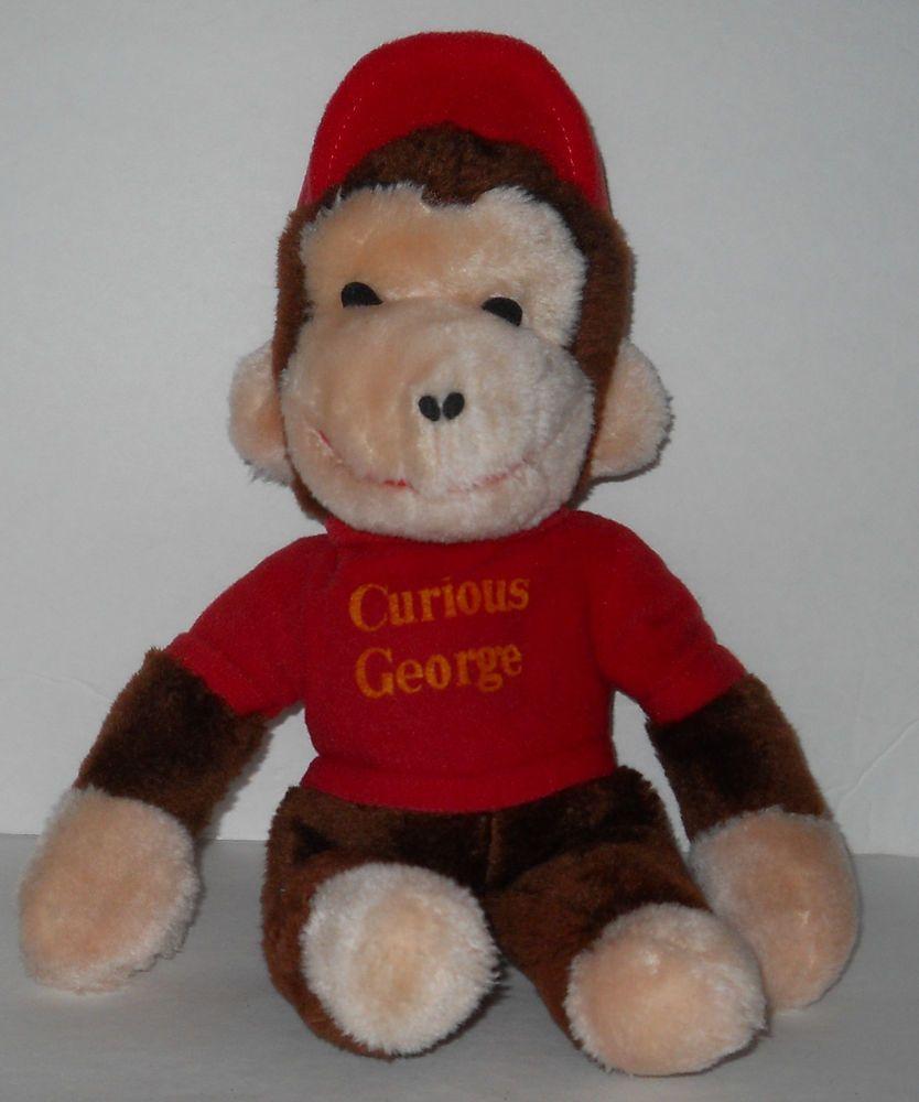 "Vintage Knickerbocker Plush Curious George Large 13"" Monkey Red Shirt Korea K29 #Knickerbocker"